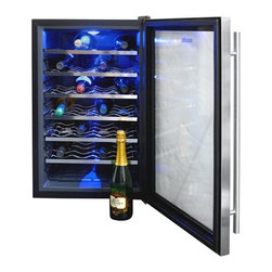 New Air - Thermoelectric Wine Cooler - Electronic touchpad control. Digital temperature readout. Cool interior lighting. Stores 28 bottles of wine. 6 pull-out shelves. Double paned door. Single zone cooling. Freestanding design. . 29 in. L x 21 in. W x 18 in. H (50 lbs)The NewAir AW-281E wine cooler is the perfect home accessory for the wine collector. Keep up to 28 bottles of wine cool on 6 pull-out chrome racks. The thermoelectric cooling system operates quietly and without excess vibration to preserve your wine collection in perfect conditions.
