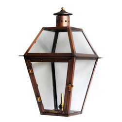 """Primo Lanterns - Primo Lanterns PL-22 Canal 23"""" Outdoor Wall-Mounted Lantern in Natural Gas Confi - Primo Lanterns PL-22 Canal 23"""" Outdoor Wall-Mounted Lantern in Natural Gas Configuration, with ValveAdd Southern Charm and character to any outdoor area with a gas burning wall lantern from Primo Lanterns. Hand made from pure copper, these lanterns are antique-finished and clear-coated for a breathtaking appearance. The dancing pecan leaf flame will captivate with its splendor, and its warm glow will offer relaxing illumination wherever this lantern is located.Primo Lanterns PL-22 Features:"""
