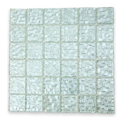 "Terrene Snow Cap 2x2 Glass Tile - Terrene Snow Cap 2x2 Glass Tile This striking glass can make any room aesthetically appealing. The wavy finish brings a distinctive design and will add a nice touch for a contemporary and modern room. This tile is great to use for the bathroom, kitchen or pool installation. Chip Size: 2""x2"" Color: Platinum Material: Glass Finish: Polished Sold by the Sheet - each sheet measures 12"" x 12"" (1 sq. ft.) Thickness: 3mm Please note each lot will vary from the next."