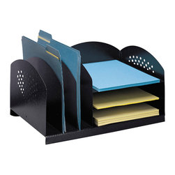 "Safco - Combination Rack 3 Upright and 3 Horizontal - Black - Sturdy steel is a smart solution! All steel organizing accessories are extra sturdy and useful. These practical, yet timeless, desktop organizers combine horizontal with vertical filing compartments to handle paperwork, file folders, books, binders, etc. in the same unit! They're available in a variety of styles and sizes to make the most efficient use of any work surface! Front and end panels feature a decorative contemporary design. Rubber feet included to protect work surfaces. All steel construction with a durable powder coat finish.; Features: Material: Steel; Color: Black; Finished Product Weight: 8 lbs.; Assembly Required: No; Limited Lifetime Warranty; Dimensions: 16 1/4""W x 11 1/4""D x 8 1/4""H"