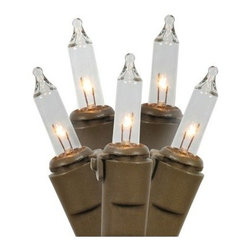 Vickerman 100 ct. Clear Mini Lights with Brown Wire 5.5 in. Spacing - Set of 2 - Sparkle up the season with the Vickerman 100 ct. Clear Mini Lights with Brown Wire 5.5 in. Spacing - Set of 2. Everything from mantels to doorways to trees to eaves can be dressed up because these lights are UL-listed for indoor and outdoor display. You'll get two 46-foot brown strands with this set, each with 100 clear lights spaced 5.5 inches apart. Plus, you can string together both strands to make one with the end-to-end connectors.About VickermanThis product is proudly made by Vickerman, a leader in high quality holiday decor. Founded in 1940, the Vickerman Company has established itself as an innovative company dedicated to exceeding the expectations of their customers. With a wide variety of remarkably realistic looking foliage, greenery and beautiful trees, Vickerman is a name you can trust for helping you create beloved holiday memories year after year.
