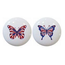 Carolina Hardware and Decor, LLC - Set of 2 Americana Butterfly Ceramic Cabinet Drawer Knob - 1 1/2 inch white ceramic knobs with one inch mounting hardware.  Great as cabinet, drawer, or furniture knobs.  Adds a nice finishing touch to any room!