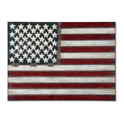 Uttermost - American Flag Metal Wall Art - Made of hand forged metal, this wall art is finished in aged red, white and blue with black tipping.