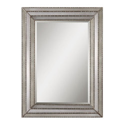 """Uttermost - Uttermost 14465  Seymour Antique Silver Mirror - This mirror features a frame made of antiqued mirror inlays with burnished silver details. center mirror features a generous 1 1/4"""" bevel. may be hung horizontal or vertical."""