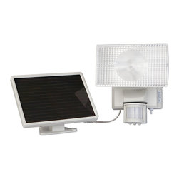 MAXSA Innovations - MAXSA 40220 Motion Activated Solar Powered Halogen Security Floodlight - Solar Powered. No electrician needed for installation and no operating costs. Perfect for walkways, driveways, garages, and sheds. Light automatically turns on when motion is detected at night. Adjustable PIR sensor detects motion within 180 degrees and up to 35 feet away. Large, diffused halogen light illuminates a broad coverage area. Time, motion sensitivity, and LUX (daylight sensitivity) adjustments. Time duration can be set from 10 seconds to 1 minute. When charged in full sunlight, light can activate up to 150 times when on for 60 seconds at a time. Easy DIY installation. No wiring. No electrician needed. Uses free energy from the sun. No operating costs. Adjustable swivel head and sensor. Durable weatherproof housing. 15 foot cable allows ideal location for solar panel and lets you mount the light inside, if desired. Includes 6V 4Ah sealed lead acid rechargeable battery.