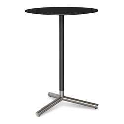 "Blu Dot - ""Blu Dot Sprout Bar Height Cafe Table, Black"" - ""Pure color and brushed stainless steel play well together.  Complete with a satin finish top and matching stem.  Color peeks through the legs for a flirtatious touch.  This table comes in four other sizes: dining table, cafe table, side table and coffee table. Available in black, ivory or yellow."""