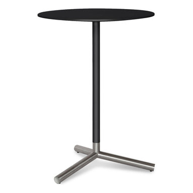 Blu Dot - Blu Dot Sprout Bar Height Cafe Table, Black - Pure color and brushed stainless steel play well together. Complete with a satin finish top and matching stem. Color peeks through the legs for a flirtatious touch. This table comes in four other sizes: dining table, cafe table, side table and coffee table. Available in black, ivory or yellow.