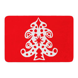 "KESS InHouse - Miranda Mol ""Noble Pine Red"" Holiday Memory Foam Bath Mat (17"" x 24"") - These super absorbent bath mats will add comfort and style to your bathroom. These memory foam mats will feel like you are in a spa every time you step out of the shower. Available in two sizes, 17"" x 24"" and 24"" x 36"", with a .5"" thickness and non skid backing, these will fit every style of bathroom. Add comfort like never before in front of your vanity, sink, bathtub, shower or even laundry room. Machine wash cold, gentle cycle, tumble dry low or lay flat to dry. Printed on single side."