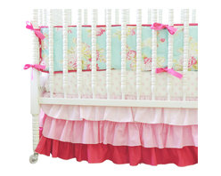 Tushies and Tantrums - Boutique Crib Bedding in Aqua and Pink with a Pink Gradiant Crib Skirt - Ahhhhh the soft aqua with the vintage floral print is like a breath of fresh air to your little girl's nursery. The darling pink gradient crib skirt and the soft pink and white sheet create a perfect pair. Lovely!