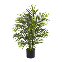 "Nearly Natural - Nearly Natural 2.5' Areca Palm UV Resistant (Indoor/Outdoor) - The beach is anywhere you want it to be with this amazing little Areca Palm Tree. Standing thirty inches in height, it features several stout trunks, and more than 325 leaves, bringing a definitive tropical feel to your home or office. Plus, it's fully UV resistant, so you can keep it inside, or bring it out to your patio, garden, deck, or anywhere else a little ""tropical vibe"" is called for. Makes a fine gift as well."