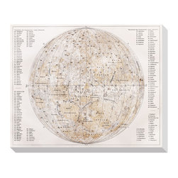 Gallery Direct - 19th Century Vintage Map of the Moon Oversized Gallery Wrapped Canvas - Artist: UnknownTitle: 19th Century Vintage Map of the MoonProduct type: Gallery-wrapped canvas art