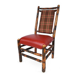 """Genesee River - Hickory Dining Chair w/Plaid - Tenoned hickory chair with brown, red, green, cream linen plaid fabric on back of chair, seat is faux red leather. Bench made in Pennsylvania. Seat height 19"""" from floor."""