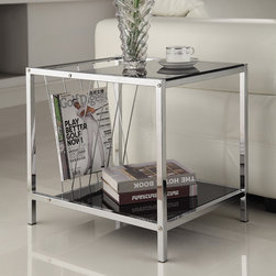 None - Chrome Finish Chair Side End Table with Magazine Holder - This functional side table has a beautiful chrome finish with black color glass. Featuring 2-tier of glass shelves and a magazine holder, this accent piece is also ideal for use as a phone table, lamp table and decorative display table.