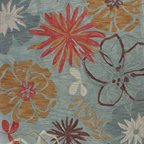 "Kas - Wildflowers Ocean Anise Floral 3'3"" x 5'3"" Kas Rug  by RugLots - KAS carries over 40 different collections of fine handmade and machine-made rugs, covering a range of low to high-end price points. You will find looks to suit all your lifestyles varying from traditional or elegant designs to bold contemporary patterns to casual and themed styles. KAS is well known for being in the forefront of innovation and design and continues to bring the most unique constructions and latest design and color trends to market."