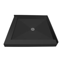 Tileredi - TileRedi 3636CDL-PVC 36x36 Double Curb Pan Center Drain - TileRedi 3636CDL-PVC 36 inch D x 36 inch W, Integrated Center PVC Drain with Left Dual Curb