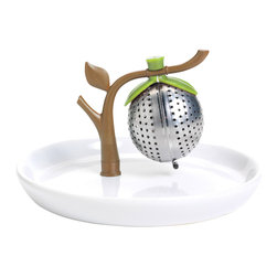 Chef'n TeaTree Tea Infuser & Saucer - The Chef'n TeaTree Tea Infuser holds two tsp of loose leaf tea in a micro-perforated stainless steel pod. Flip the TeaTree over and place in hot water to steep. Flip the infuser back over and place on counter when done steeping. The saucer catches all drips and keeps things tidy.Product Features                          Flip upside down to steep            Saucer collects drips            Stainless steel pod top-rack dishwasher safe            Hand wash ceramic saucer