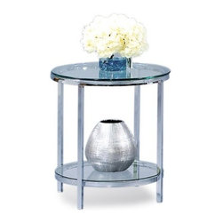 Basett Mirror - Patinoire Round End - The Patinoire Round End Table (Chrome Finish) has the following features: