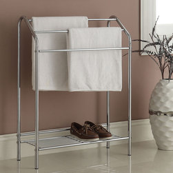 None - 3-bar Chrome Finish Bathroom Rack - Keep your towels,slippers and other items organized and off of the floor with this stylish metal bathroom rack. Finished in a sleek chrome,this three-bar bathroom rack provides plentiful storage space to keep your bathroom clean.