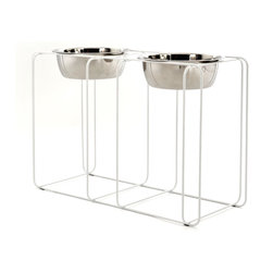 Doca Pet - Wire and Dine, Large - Feed your Fido in style and comfort with this wire-frame doggie diner. The contemporary wire frame recedes into your decor. Made in Chicago, it includes two gleaming dog dishes.