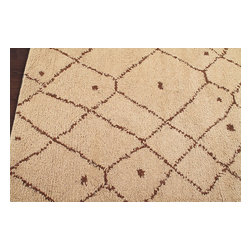 Rugsville - Rugsville Moroccan Beni Ourain Woven Beige Wool Rug 13755 5x8 - Rugsville rugs are durable, vibrant, and transform the blank canvas of a dull floor into a focal point sure to make a lasting impression. The Trellis rug collection offers fashionable, rugs in 100% wool, perfect for eco-friendly families who appreciate the natural look. These handmade rugs are well-textured and will provide an inviting and welcoming mood for your guests.Fashionable rugs with 100% wool.