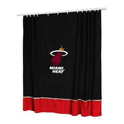 Sports Coverage - Sports Coverage NBA Miami Heat Shower Curtain - Spruce up your Bathroom and show your NBA spirit with this Miami Heat Shower Curtain from Sports Coverage! This NBA Shower Curtain is the perfect for any real fan.   Features:   -  Centered NBA team logo on team colors,    - Soft leather texture-printed stripe,    -  Officially Licensed,    -  Machine washable,     -  Made in USA,    - 72 H x 72 W,