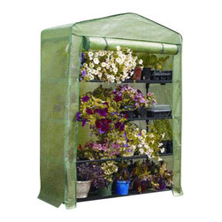 "Gardman USA - 4 Tier Growhouse Greenhouse - 4 Tier Mini Greenhouse - extra wide 5'3"" high x 1'6"" wide x 19"" deep. Ideal for limited spaces. Shelving included. Includes wall fixing rings and guy ropes."