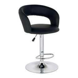 Groove Faux Leather Black and Chrome 19-Inch-W Bar Stool -