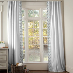 Mist and Gray Chevron Hidden Tab Drapes - Set of 2 Drape Panels