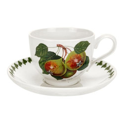Portmeirion - Portmeirion Pomona Classics Traditional Breakfast Cup and Saucer - Set of 6 Mult - Shop for Drinkware from Hayneedle.com! About PortmeirionStrikingly beautiful eminently practical refreshingly affordable. These are the enduring values bequeathed to Portmeirion by its legendary co-founder and designer Susan Williams-Ellis. Her father architect Sir Clough Williams-Ellis was the designer of Portmeirion the North Wales village whose fanciful architecture has drawn tourists and artists from around the world (including the creators of the classic 1960s TV show The Prisoner). Inspired by her fine arts training and creation of ceramic gifts for the village's gift shop Susan Williams-Ellis (along with her husband Euan Cooper-Willis) founded Portmeirion Pottery in 1960. After 50+ years of innovation the Portmeirion Group is not only an icon of British design but also a testament to the extraordinarily creative life of Susan Williams-Ellis.The style of Portmeirion dinnerware and serveware is marked by a passion for both pottery manufacturing and trend-setting design. Beautiful tactile nature-inspired patterns are a defining quality of Portmeirion housewares from its world-renowned botanical designs modeled on antiquarian books to the breezy natural colors of its porcelain and earthenware. Today the Portmeirion Group's design legacy continues to evolve through iconic brands such as Spode the Pomona Classics collection and the award-winning collaboration of Sophie Conran for Portmeirion. Pomona for Portmeirion:Classical in both its inspiration and its style the Pomona Collection from Portmeirion Group is a garden of earthly delights. Named for the ancient Roman goddess of fruit and abundance its lifelike patterns and fruit motifs are inspired by a collection of early 19th-century books of hand-colored botanical drawings. The Pomona Collection was introduced in 1982 by legendary designer and Portmeirion co-founder Susan Williams-Ellis whose iconic garden- and botanical-themed designs are still among the world's most popular casual tableware motifs.The Pomona Collection's intricately detailed botanical drawings feature green leaf borders and multi-color fruit displays on a background of high-fired white earthenware. Each distinctive motif bears an elegant cursive title to indicate its botanical origins. These include The Hoary Morning Apple The Teinton Squash Pear The Wild Blackberry The Roman Apricot Grimwoods Royal George (Peach) and The Late Duke Cherry. Together the multiple motifs and dishes of the Pomona Collection of serveware dinnerware and drinkware create bountiful opportunities for mixing and matching sets. Made of dense earthenware these pieces are dishwasher- microwave- freezer- and oven-safe (to 350 F). Give nature its fullest expression in every season and setting with the Pomona Collection from Portmeirion.
