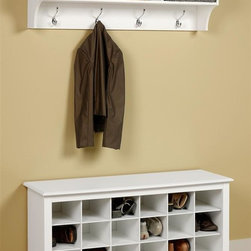 Prepac - Entryway Wall Mount Coat Rack w Shoe Storage - Includes shoe storage cubbie bench and wall shelf. Warranty: Five years. Made from CARB-compliant, MDF, laminated composite wood. Made in North America. Assembly required. Shoe storage bench:. Eighteen individual cubbies. Hold pair of size shoes. Dual-purposed and versatile. Internal: 6.75 in. W x 13.75 in. D x 5.5 in. H . Overall: 48 in. W x 16 in. D x 24 in. H. Wall shelf:. Two piece hanging rail system. Three storage compartments. Internal: 14.25 in. W x 10 in. D x 8.75 in. H. Overall: 48 in. W x 11.5 in. D x 16.5 in. HStore your shoes where you put them on with our Shoe Storage Cubbie Bench. This bench is a great addition to your foyer, mudroom, utility room or bedroom. Keeping them neatly stored and out of the way. It�۪s the perfect piece to keep your shoes organized.