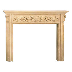 "Inviting Home - Baltimore Large Fireplace Mantel - Baltimore large fireplace mantel overall - 74""W x 56""H opening - 58""W x 42""H shelf - 79""W x 8""D Wood fireplace mantels are hand-carved from premium selected hard maple. Fireplace mantels come unfinished finely sanded ready to accept any stain to match you surrounding woodwork. Classic gracious design of the wood fireplace mantels speaks gently of understated elegance and undeniable refinement."