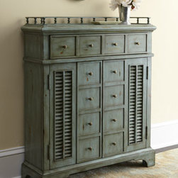 "Ambella - Ambella ""Crosby"" Chest - Add function and allure to your entryway or living space with this distressed blue cabinet, perfect for catching keys, mail, and more. Handcrafted of rubberwood with an ""antique blue"" finish. Features two doors, one drawer, and one shelf. 30""W x 9""D..."