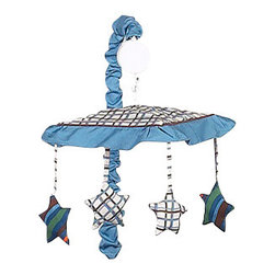 Sweet Jojo Designs - Surf Blue & Brown Crib Mobile - The Surf Blue & Brown musical crib mobile set will help complete the look of your Sweet Jojo Designs nursery. This set includes a musical mobile frame, canopy with hanging toys, and matching arm sleeve cover. The wind-up mobile spins and plays Brahms's lullaby.