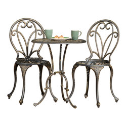Great Deal Furniture - Windsor Dark Gold Cast Aluminum 3-piece Bistro Set - This size of this set allows it to fit right in almost anywhere, including balconies, patios, screened porches, poolside, hardscapes, and gardens. Elegant, antiquated curves not only accent the pieces, but are integrated into the construction. This set features a affluent coloring; a combination of the natural aluminum color with dark bronze, giving it a gold look.