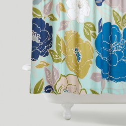 Painterly Floral Shower Curtain - This soft palette and big floral pattern is modern, chic and fresh.