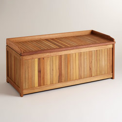 World Market - Wood Outdoor Storage Box - You'll be organized in no time with this handsome Wood Outdoor Storage Box. An ideal way to clear the clutter, this storage box's durable and fashionable construction works wonders to free your space of pesky odds and ends.