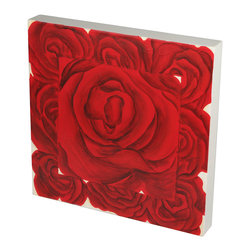Brandi Renee Designs - Handpainted Large Centered Red Rose with Eight Small Roses - This cute red rose square wall piece is perfect alone or with its companions or sculptural red roses in a wall grouping.