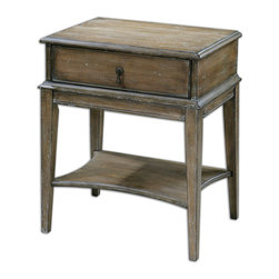 Uttermost - Hanford Weathered Accent Table - Old and distressed never looked as good as this accent table. It's a humble piece of sun-washed weathered pine elevated by burnished edges and a light antique glaze. Because you need storage space, it has a drawer with a wrought-iron pull and a bottom shelf for books, magazines — or nothing at all.