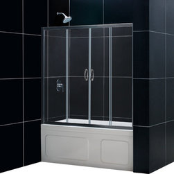 DreamLine - DreamLine SHDR-1160586-04 Visions 56 to 60in Frameless Sliding Tub Door, Clear 1 - The Visions sliding tub door delivers a polished look with a frameless glass design and a unique four panel configuration. The two outer panels are stationary, while the two inner panels slide open to create a center point of entry, an excellent solution when traditional right or left opening doors prove to be an awkward choice. 56 - 60 in. W x 58 in. H ,  1/4 (6 mm) clear tempered glass,  Chrome or Brushed Nickel hardware finish,  Frameless glass design,  Width installation adjustability: 56 - 60 in.,  Out-of-plumb installation adjustability: Up to 1 in. per side,  Two sliding doors, flanked by two stationary panels,  Anodized aluminum wall profiles and guide rails,  Aluminum top and bottom guide rails may be shortened by cutting up to 4in,  Door opening: 22 - 26 in., Aluminum
