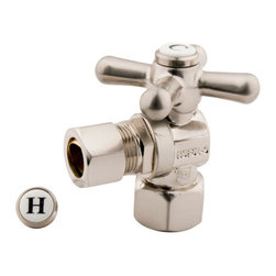 Kingston Brass - Angle Stop with 1/2in. IPS x 1/2in. OD Compression - The 1/4-turn angle stop valve features an easy-to-handle cross lever which controls the movement of water through and from plumbing fixtures. The valve is made of solid brass built for durability and dependability and also comes in a variety of finishes to better coordinate your kitchen/bathroom.