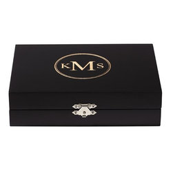 Home Decorators Collection - Personalized Jewelry Box - Neatly store your rings, bracelets, earrings and other trinkets in our Personalized Jewelry Box. Divided into two sections lined with velvet, this personalized box is a classic way to keep your valuables safe and organized. Free personalization with three encircled engraved letters. Removable velvet lining and ring inserts. Metal clasp.