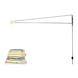 "Brendan Ravenhill - Cord Lamp, White, 36"" - Swing-arm lamps get super-sized in this modern, minimal design. You've got to love the versatility of this piece; use it in a rental that doesn't have much overhead lighting and swing to illuminate any dark spots."