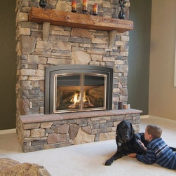 """Enviro Sienna Series 40'' x 28'' Gas Insert Fireplace EG41 - Body comes complete with 50% turn down Nova valve, """"EmberGlo"""" burner, 5-piece """"Banker's Brown"""" brick liner, 5-piece ceramic log set and 130cfm variable speed fan. All Sienna units are NG with an LP conversion kit. All Sienna units are direct vent with a B vent conversion kit."""