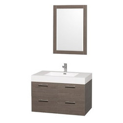 "Wyndham Collection(R) - Amare 36"" Wall-Mounted Bathroom Vanity Set with Integrated Sink by Wyndham Colle - The Wyndham Collection is an entirely unique and innovative bath line. Sure to inspire imitators, the original Wyndham Collection sets new standards for design and construction. The Amare wall-mounted vanity family delivers beautiful wood grain exteriors offset by modern brushed chrome door pulls. Each vanity provides a full complement of storage areas behind sturdy soft-close doors and drawers. This versatile vanity family is available with distinctive vessel sinks or sleek integrated counter and sinks to fulfill your design dreams. A wall-mounted vanity leaves space in your bathroom for you to relax. The simple clean lines of the Amare wall-mounted vanity family are no-fuss and all style. Amare Bathroom Vanities are available in multiple sizes and finishes.FeaturesConstructed of beautiful veneers over the highest grade MDF, engineered for durability, and to prevent warping and last a lifetime 8-stage preparation, veneering and finishing processHighly water-resistant low V.O.C. sealed finishUnique and striking contemporary designModern Wall-Mount DesignMinimal assembly requiredDeep Doweled DrawersFully-extending soft-close drawer slides Concealed soft-close door hinges Backsplash not availableAcrylic-Resin integrated sink Rectangular Sink Single-hole faucet mountFaucet(s) not includedMirror includedMetal exterior hardware with brushed chrome finish Two (2) functional doors Two (2) functional drawers Plenty of storage spacePerfect for small bathrooms and powder roomsIncludes drain assemblies and P-traps for easy assembly How to handle your counter Spec Sheet for Vanity Installation Guide for VanitySpec Sheet for MirrorInstallation Guide for Mirror Spec Sheet for Amare Rotating Wall Cabinet with Mirror (WC-RYV202) Spec Sheet for Amare Bathroom Wall Cabinet (WC-RYV205)Installation Guide for Amare Bathroom Wall Cabinet (WC-RYV205) Spec Sheet for Amare Bathroom Wall Cabinet (WC-RYV207-WC)Installation Guide for Amare Bathroom Wall Cabinet (WC-RYV207-WC)"
