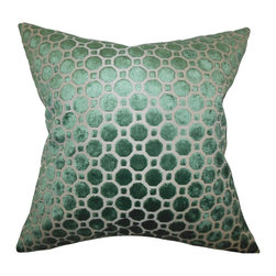 """The Pillow Collection - Kostya Geometric Pillow - Give a dose of sophistication to your home with this beautiful accent piece. This throw pillow features a geometric pattern and an emerald green hue. This toss pillow is made of 100% high-quality velvet material. This tailored square pillow works well in a variety of settings and decor themes. Complete your living space's style with a few pieces of this 18"""" pillow. Hidden zipper closure for easy cover removal.  Knife edge finish on all four sides.  Reversible pillow with the same fabric on the back side.  Spot cleaning suggested."""