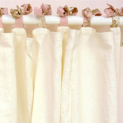 Curtain Panel Set English Rose Garden - Love the simplicity of these linen panels with a soft pink tie at the top. A perfect addition to a nursery or little girl's room.