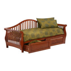 Night & Day Furniture - Night and Day Nightfall Twin Daybed in Cherry - No Thank You - Our nightfall daybed, for style, comfort and utility, is unsurpassed. Put up a friend for the night or pile on the family for movie-time; the nightfall daybed is sitting pretty and always ready.