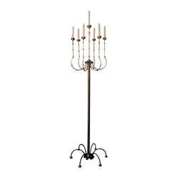 Handmade by artist - Floor royal candelabra - Your home is your castle. Add a few royal touches that make it look that way. This floor candelabra's elegant scale and modern details give it a distinctive look.