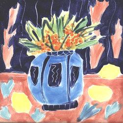 """Abbette Kearney - Matisse inspired majolica tiles 6"""" and 4"""""""