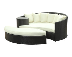 LexMod - Taiji Outdoor Patio Daybed in Espresso White - Harmonize inverse elements with this radically pleasing daybed set. Seven plush throw pillows adorn Taiji's thick all weather orange cushions allowing for the splendorous blending of mediating elements. Find the key to attainment as you bask in a charged